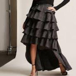 Plaid High-Low Flounce Skirt